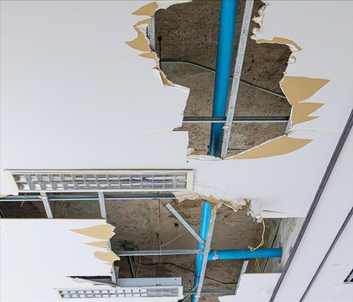 ceiling tiles damaged by water